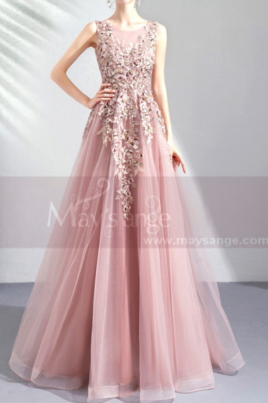 Pink evening dress - copy of Silver Gray Tulle Vintage Princess Prom Dress With Neck Tie - L2021 #1