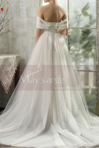 Beautiful Tie Neck Off The Shoulder Wedding Dress Satin Top - M1264 #1