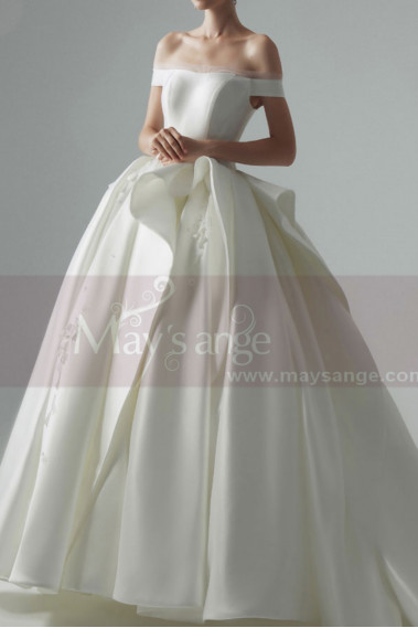 copy of Top Lace White Simple Wedding Gown With Thin Strap - M1266 #1
