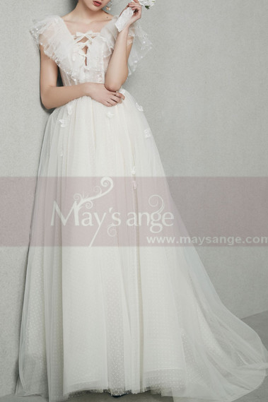 White Vintage Boho Wedding Dress With Ruffle Tied V neckline - M1267 #1