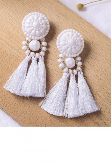 Tassel vintage wedding earrings white - B087 #1