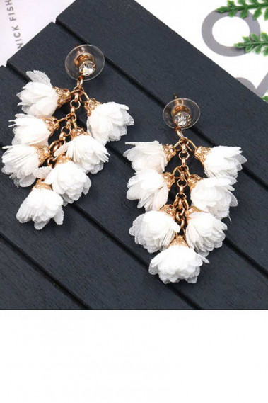 Beautiful cheap white flower earrings - B0109 #1