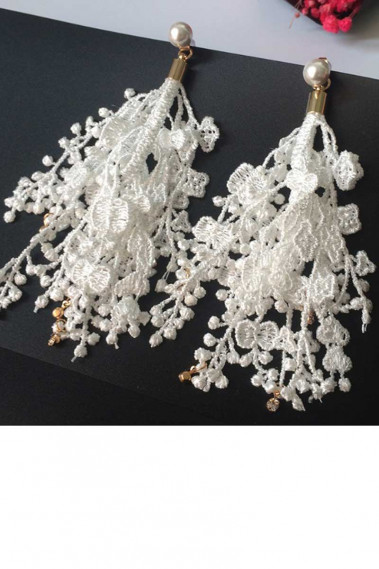 Stylish white earrings for engagement - B0107 #1