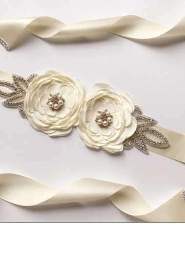 Ivory satin belt for bridesmaid dresses - YD002 #1