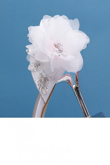 Elegant White Wedding pumps With Flower - CH109 #1