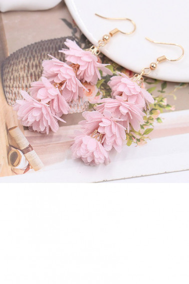 Beautiful pink flower fancy earrings - B0103 #1