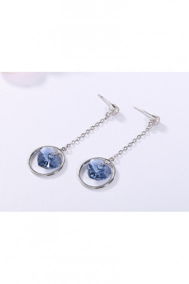 Circle earrings with blue stone heart - B092 #1