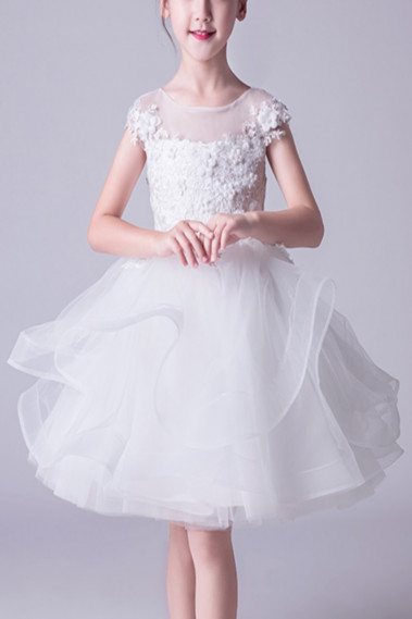 Robe Tulle Douce Blanche Fille Corsage Brodé - TQ015 #1