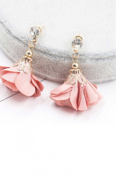 Pretty Pink Flower Crystal Earrings - B0113 #1