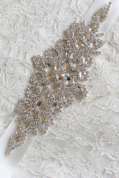 Rhinestone sash for wedding dress white - YD008 #1