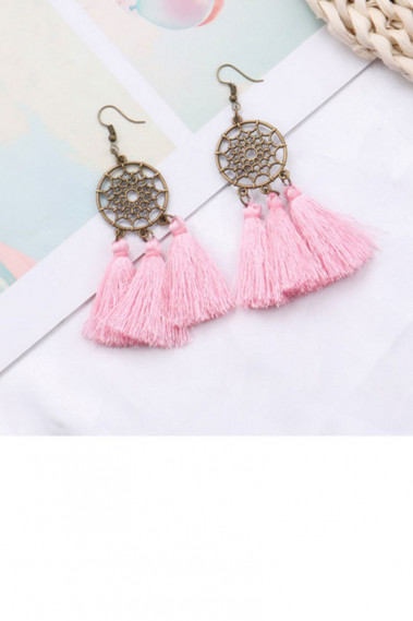 Trendy fancy pink tassel hoop earrings - B0105 #1