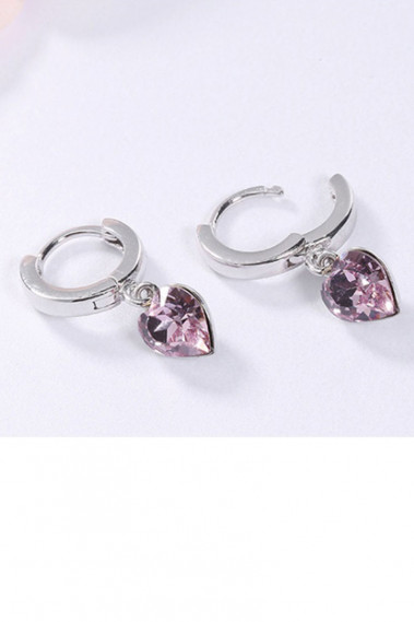 Women's Earrings Pink Stone Heart Hoop - B096 #1