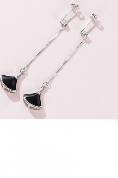 Affordable Fancy black pendant earrings - B090 #1