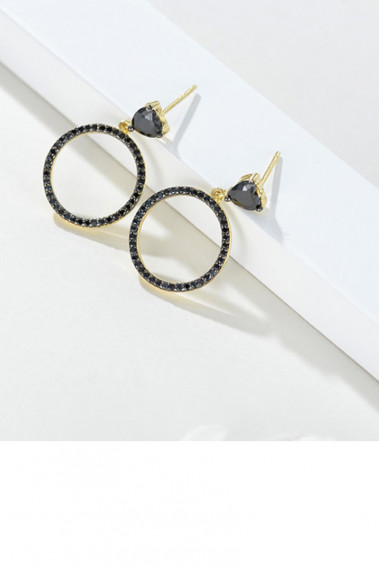 Cute circle stud golden black earrings - B088 #1