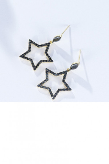 Small studs golden black star earrings - B093 #1