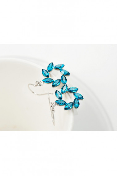 Stone blue statement earrings crochet - B091 #1