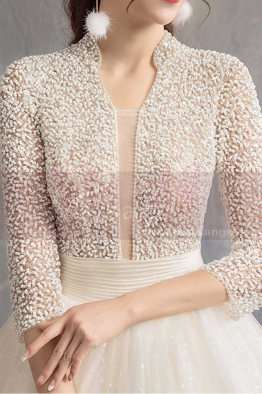 Winter Wedding Gowns with Top Beaded Jacket And Large Skirt - M1913 #1