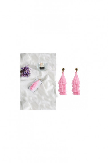 Pink tassel earrings for bohemian look - B0100 #1