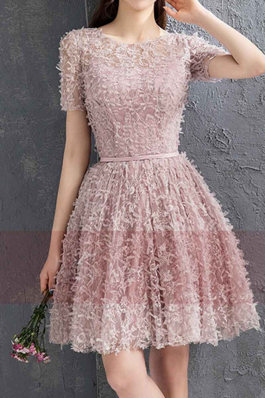 Pink Lace Party Dress With Short Sleeves - C882 #1