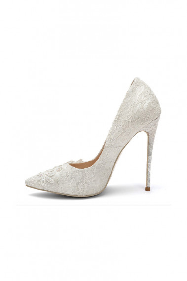 Womens Wedding Lace Pointed Toe Pumps - CH107 #1