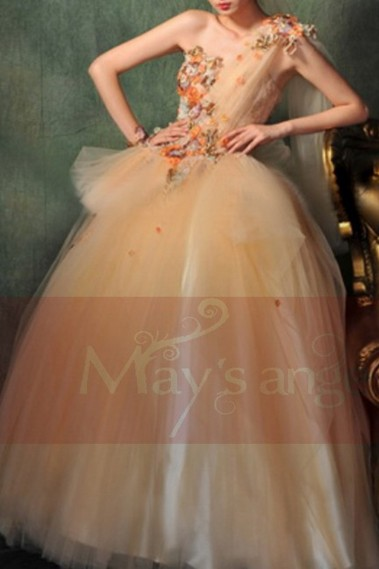 Princess Evening Dress - Embroidered Tulle Peach Prom Dress - P010 #1