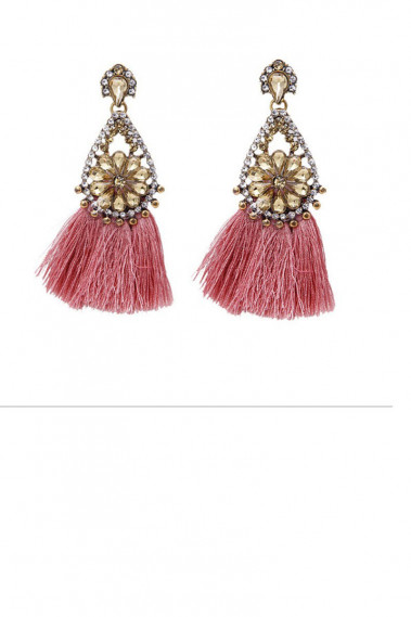 Fancy pink tassel earrings gold clasp - B0110 #1