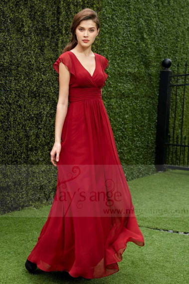 RASPBERRY LONG RED DRESS FOR COCKTAIL - L785 #1