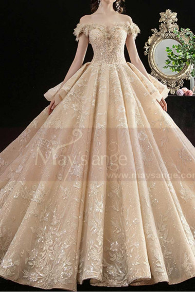 Gorgeous Champagne Gold Wedding Dresses Sparkling Floral Top - M1256 #1