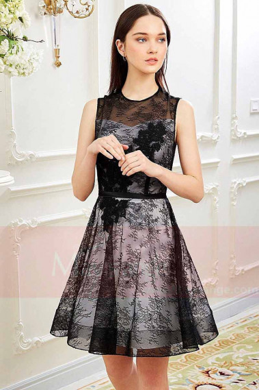 Black Lace Cocktail Dress- Two-Tone Dress - C830 #1