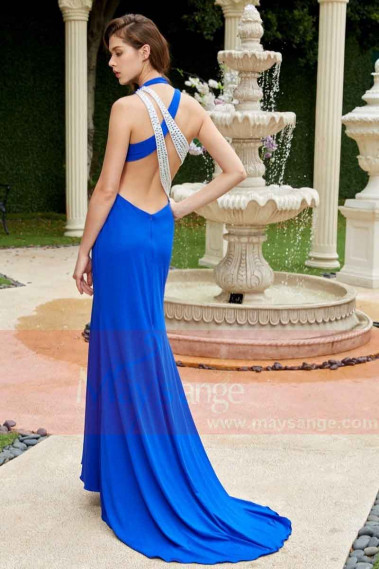 copy of Long Chiffon Evening Dress With Rhinestone Straps - L786PROMO #1