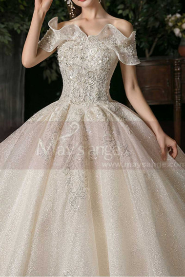 Puffy Goddess Wedding Dress With Sparkling Ruffle Neckline - M1255 #1