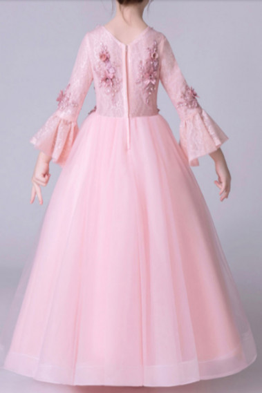 Cheap Dresses for Wedding - Pink Dress For Kids With Bell-Sleeve - TQ013 #1