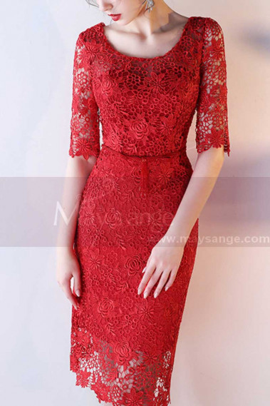 Straight Lace Red Prom Dress with Half-Length Sleeves - C1917 #1