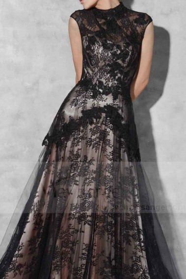 BLACK LACE EVENING DRESS SLEEVELESS - L764 #1