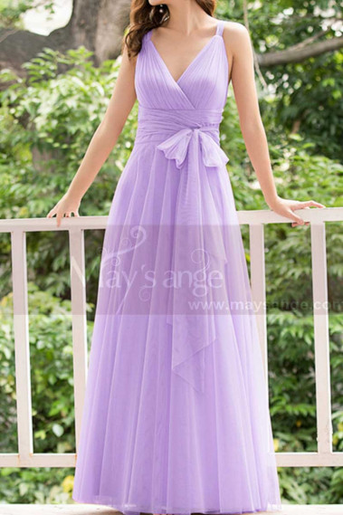 Lilac Bridesmaid Dresses Tulle Long With Bow Belt - L1231 #1