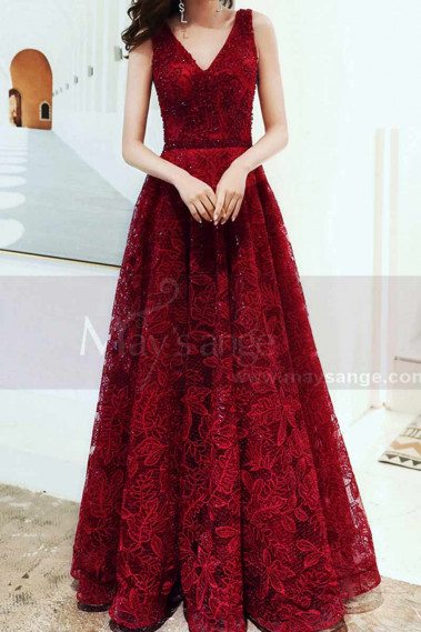 Flared evening dress - V Neck Sleeveless Red Lace Dress For Prom With Lace Up Closing - L1998 #1