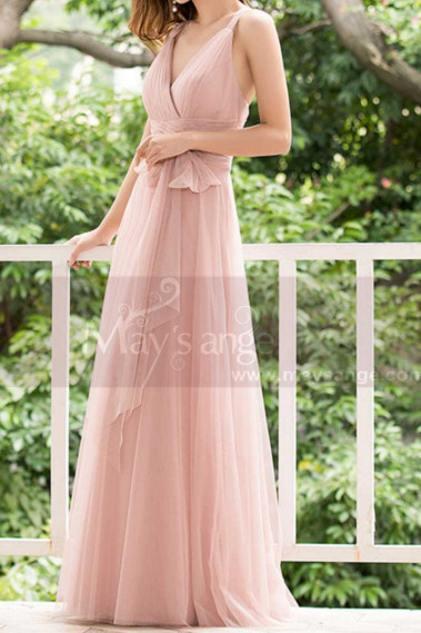Pink Tulle Floor Length Party dresses With Bow Belt - L1221 #1