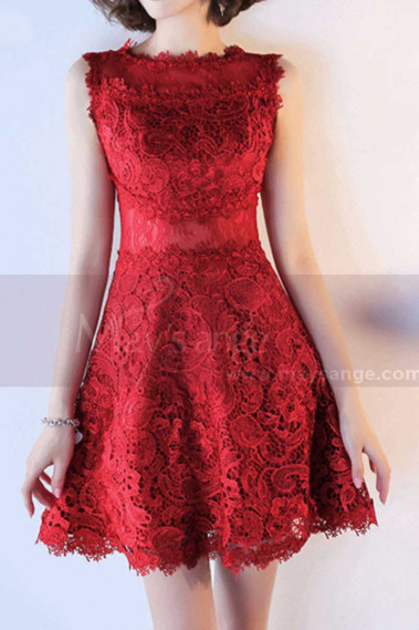 Red cocktail dress - Short Sleeveless Red Lace Evening Dress - C991 #1