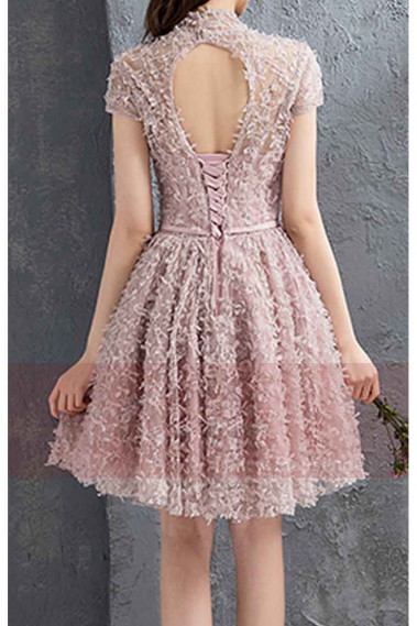 Short Sleeve Old Pink  Ball Gown Prom Dresses With High Neck - C885 #1