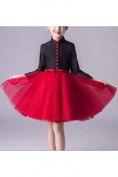 Cheap Dresses for Wedding - Long Sleeve Red And Black Dress For Kids - TQ014 #1