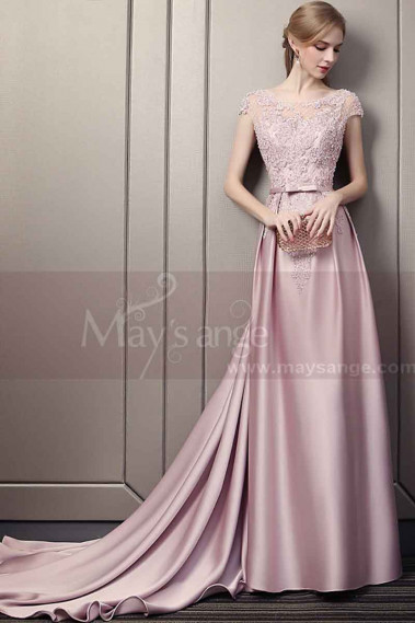 Pink evening dress - Embroidered Pink Long Formal Gowns With Sleeves - L1934 #1