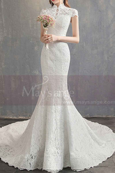 High Collar Lace Mermaid Wedding Gowns With Sleeves - M1907 #1