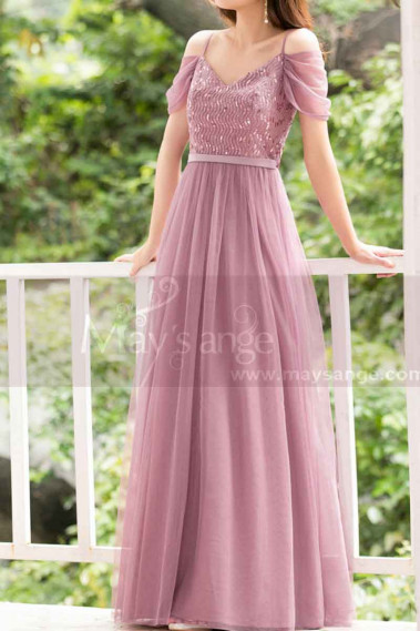 Formal Evening Gowns Pink Tulle With Sequin Top - L1226 #1