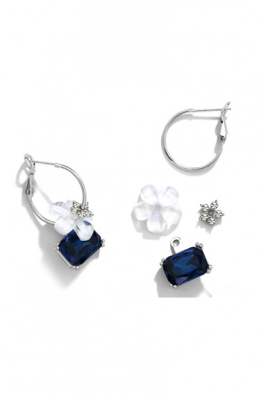 Silver hoop earrings flower blue stone - B107 #1