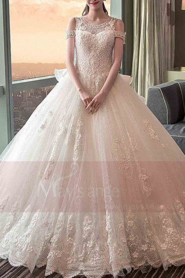 Long Train Lace Beaded Wedding Dress With Sleeves - M403 #1