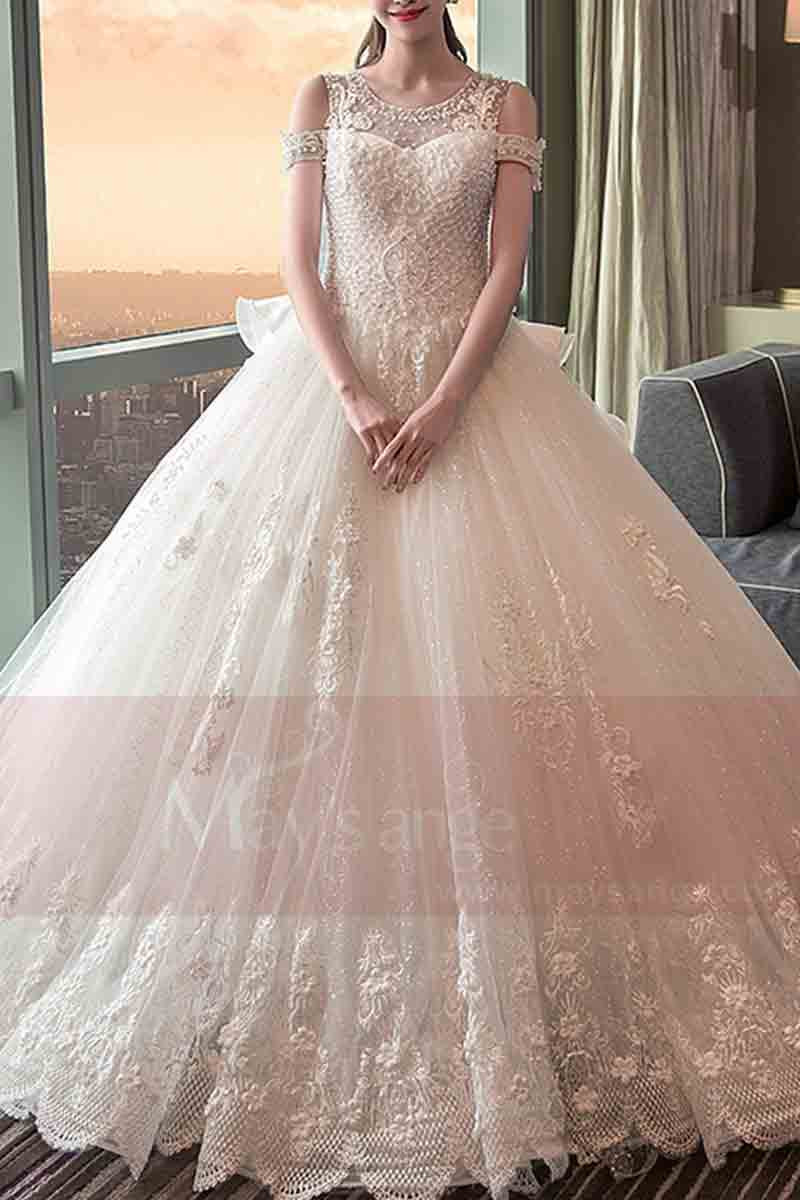 Long Train Lace Beaded Wedding Dress With Sleeves