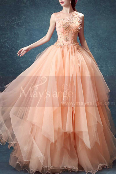 Pink evening dress - Embroidered Peach Ever Pretty Bridesmaid Dresses Ruffle Skirt - P1903 #1