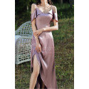 High Slit Bridesmaid Dresses Silver Pink And Straps - Ref L1203 - 05