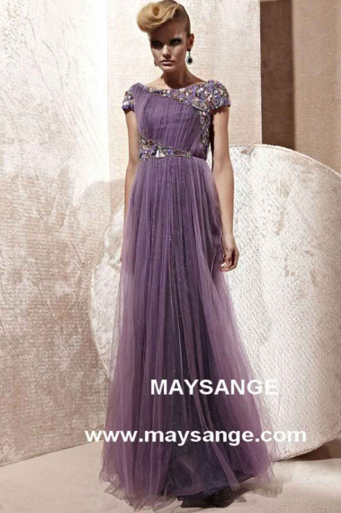 Straight evening dress - LONG EVENING DRESS WITH SLEEVES - L206 #1