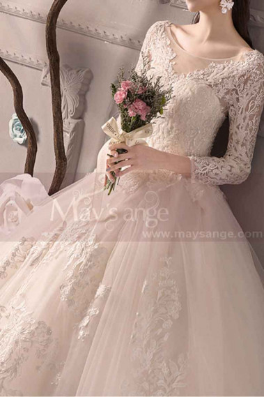 Beautiful Illusion Bodice Long Sleeve Lace Wedding Dress With Plunging Back Neckine - M1910 #1